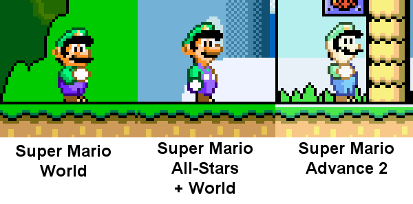 Luigi sprite in Super Mario World, All-Stars, Super Mario Advance
