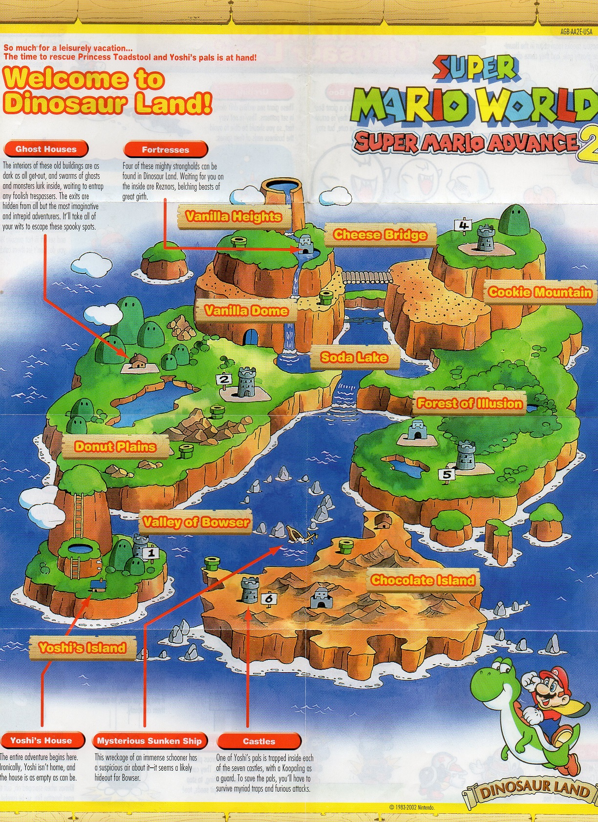 Super Mario World Dinosaur Land map scan GBA