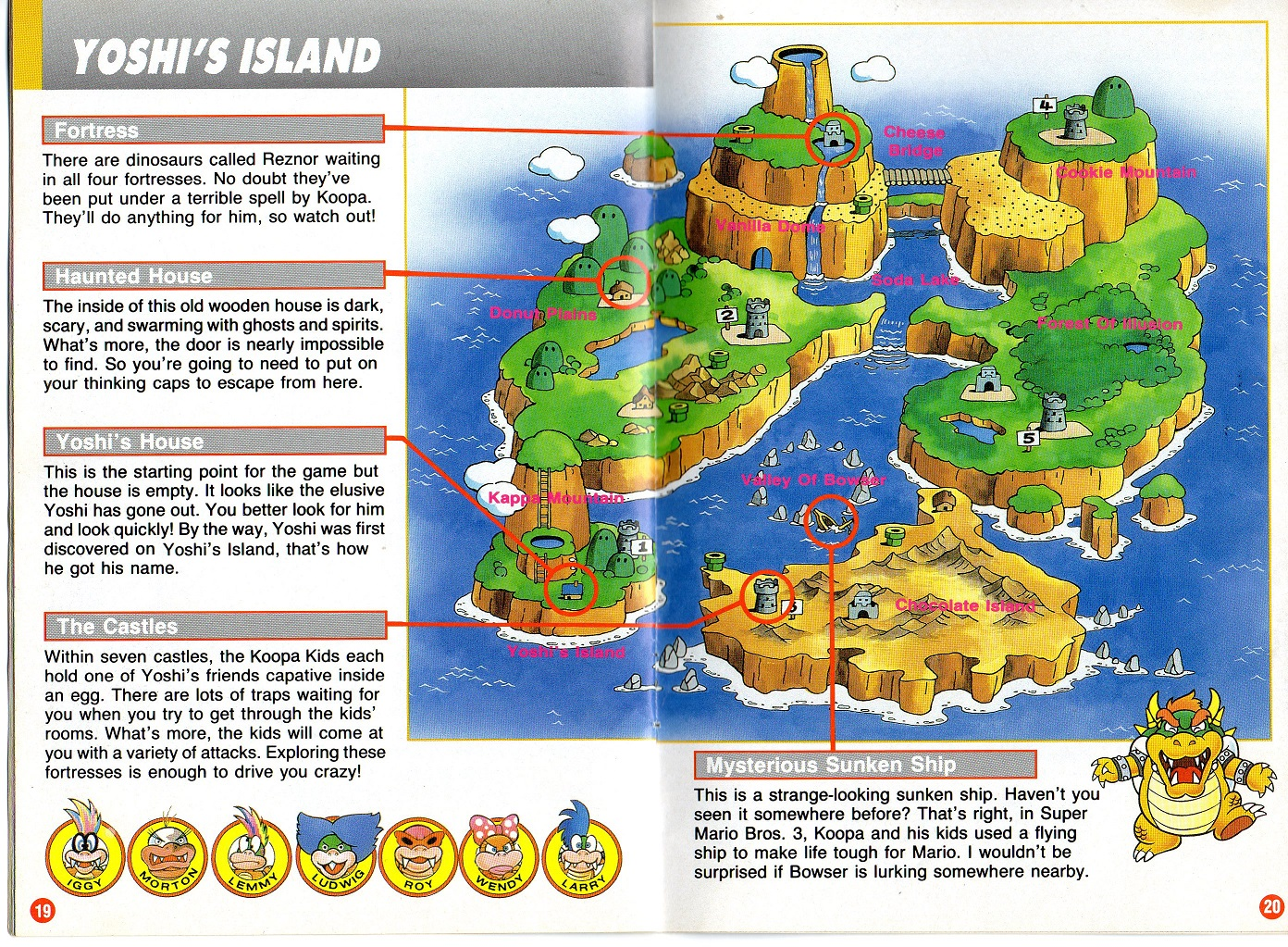 Super Mario World Dinosaur Land map scan SNES page 19